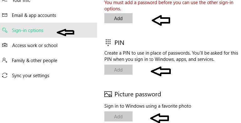 tạo mật khẩu cho windows 10