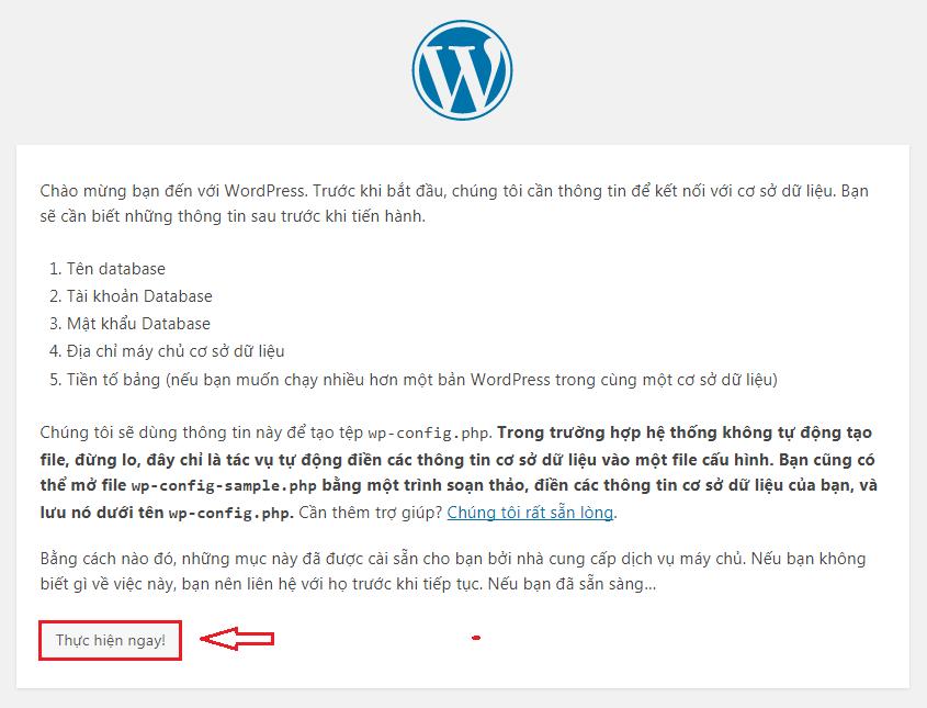 Giao diện ban đầu khi cài đặt WordPress trên localhost