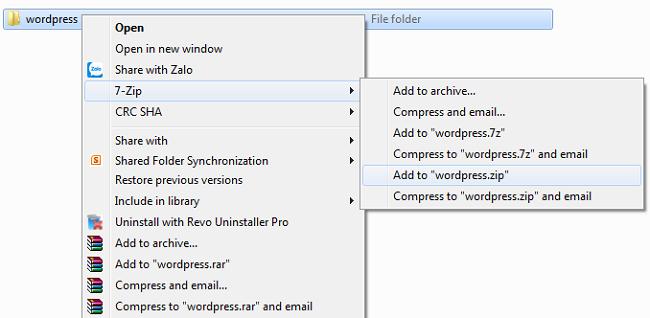 Nén file WordPress thành file định dạng .Zip