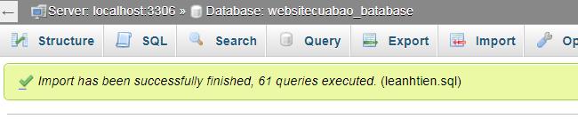 Import file .SQL thành công