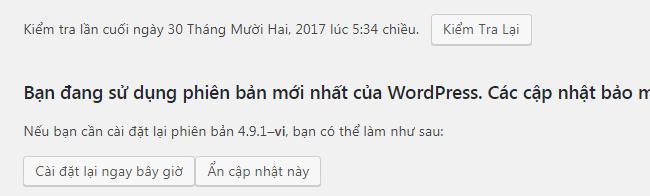 Cập nhật phiên bản mới nhất của WordPress