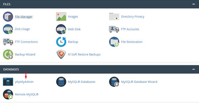 Lựa chọn chức năng database trong hosting