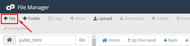 Lựa chọn chức năng new file để tạo file .htaccess