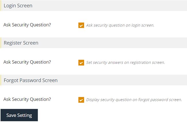 Thiết lập hiển thị câu hỏi ra trang login