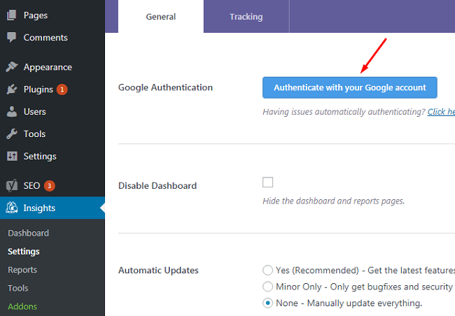 Lựa chọn chức năng Authentica with your Google Acount trong plugin MonsterInsights
