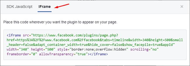 Lựa chọn tab IFrame rồi coppy đoạn code sau