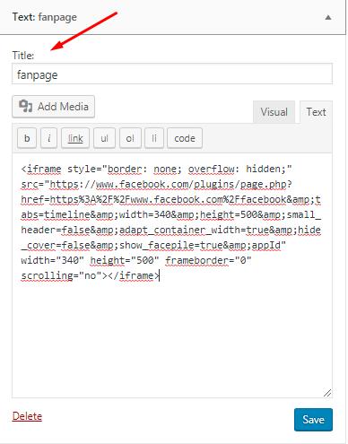 Đặt title và dán đoạn code vừa coppy vào khung văn bản kiểu text