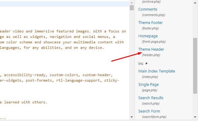 Tìm và Edit file header.php để thêm đoạn code Google Analytics