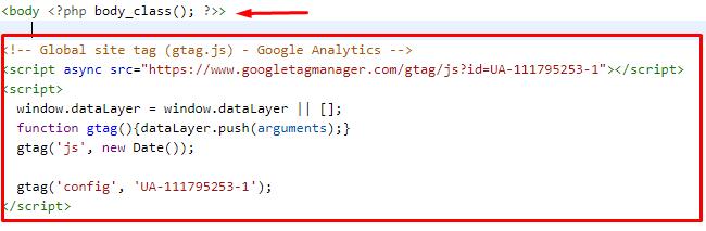 Thêm đoạn code Google Analytics vào sau thẻ body trong file header.php