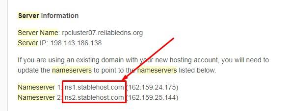 Thông tin 2 Nameserver nhận được sau khi đăng ký hosting
