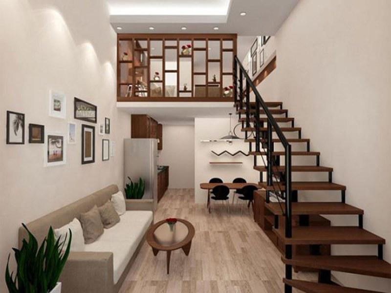 cầu thang gác lửng bằng gỗ